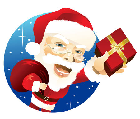 Santa Claus carrying sack and delivering gift Ilustrace