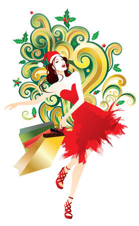 Christmas Shopping - Woman holding colorful bags Vector