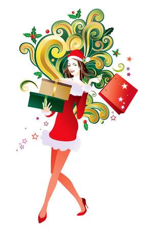 carrying box: Compras de Navidad - celebraci�n de cajas de regalo de mujer Vectores