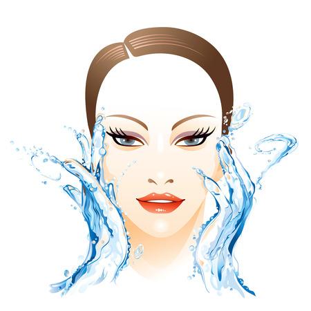 Woman washing face Stock Vector - 5755660