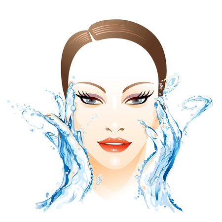 woman washing face: Woman washing face Illustration