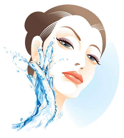 skin care woman: Woman washing face Illustration