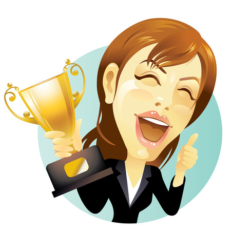 Businesswoman celebrating with trophy in hand Vector