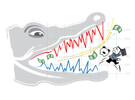 Zakenman die vanaf het risico van effectenbeurs weglopen Stock Illustratie
