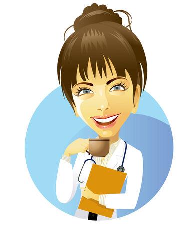 enfermera caricatura: M�dico femenino beber caf�