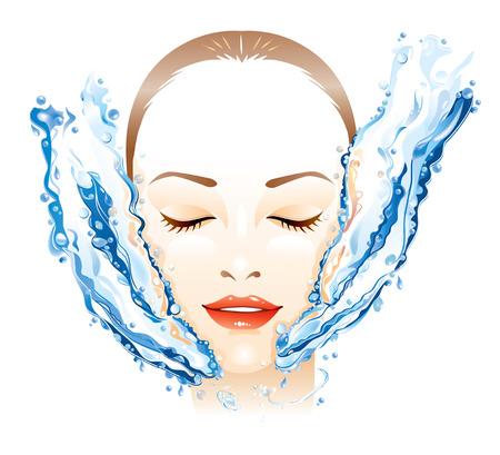 Jeune femme recevant massage facial  Vecteurs