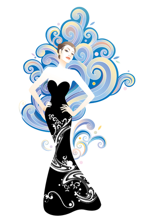 Beauty and fashion woman with graphic clouds background Ilustrace