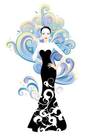 Beauty en fashion vrouw met grafische wolken achtergrond Stock Illustratie