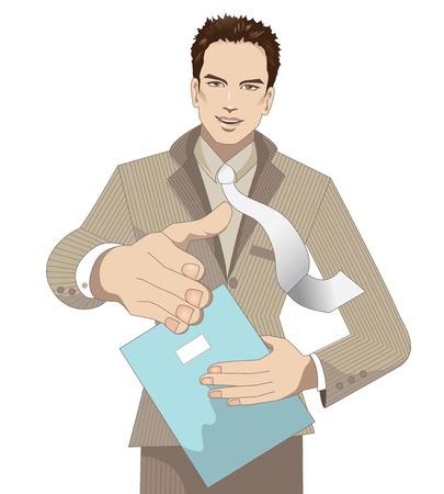 ビジネスマン挨拶  イラスト・ベクター素材
