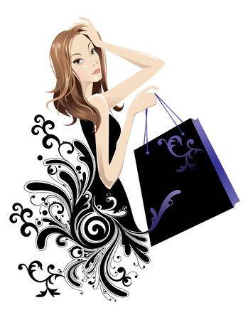 Portrait of a pretty woman with shopping bag Illustration