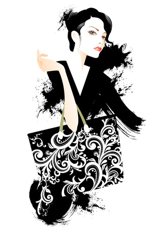 fashion illustration: Young woman with shopping bag