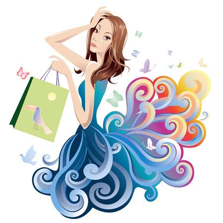 faldas: Retrato de una mujer bonita con bolsa de compras