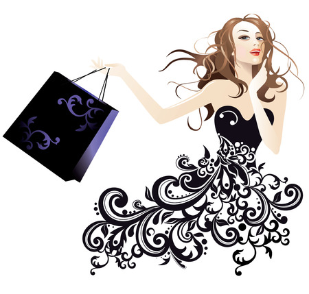glamour model: Portrait of a pretty woman with shopping bag Illustration