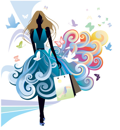 Young woman and shopping bags Vector