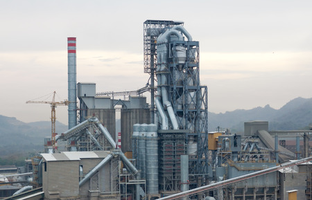 kiln: Preheater tower of kiln rotary section in cement industrial Stock Photo