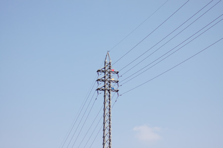 steel tower: High voltage electrical steel tower Stock Photo