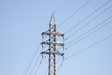 megawatts: High voltage electrical steel tower Stock Photo