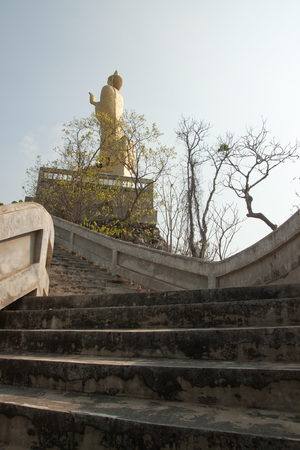 up stair: Stair up to Buddha on the top of mountain Stock Photo