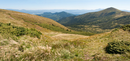 hillsides: Carpathian mountains in late summer. Ukraine. Hillsides of Svydovets ridge Stock Photo
