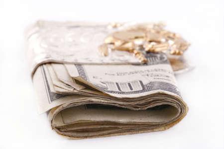 wad of money in a bucking bronc money clip photo