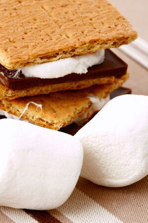 placemat: Smores on a striped placemat Stock Photo