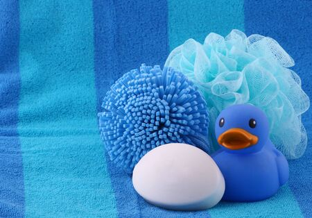 squeaky clean: Rubber ducky and bath items Stock Photo