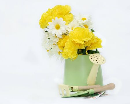Artificial flowers in a decorative watering can with mini gardening implements and seen packets on an isolated white background with room on the left for copy space