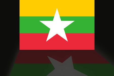 shaddow: Flag of Myanmar Stock Photo