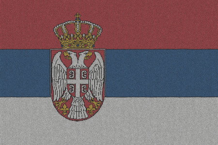 serbia: Knitted Serbia flag Stock Photo
