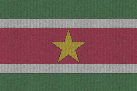 Suriname: Knitted Suriname flag Stock Photo