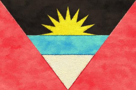 antigua flag: Antigua and Barbuda flag on ageing paper Stock Photo