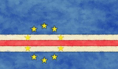 cape verde flag: Cape Verde flag on ageing paper