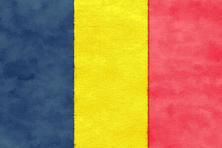 chad flag: Chad flag on ageing paper