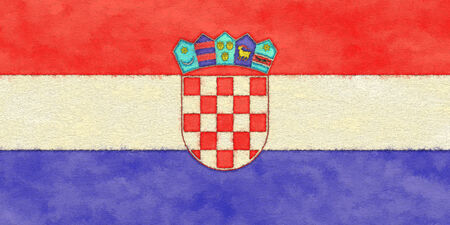 bandiera croazia: Bandiera della Croazia su carta di invecchiamento