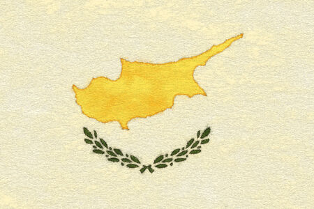 Cyprus flag on ageing paper