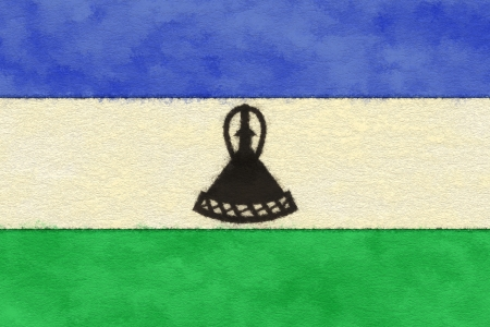 ageing: Lesotho flag on ageing paper