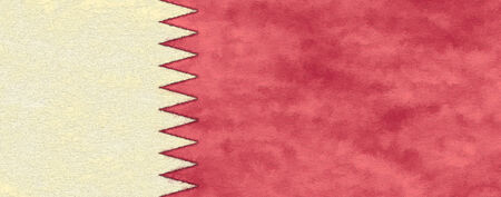 ageing: Qatar flag on ageing paper