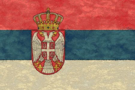 serbia: Serbia flag on ageing paper