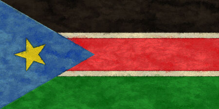 ageing: South Sudan flag on ageing paper