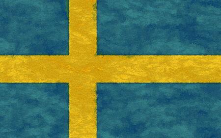 sweden flag: Sweden flag on ageing paper