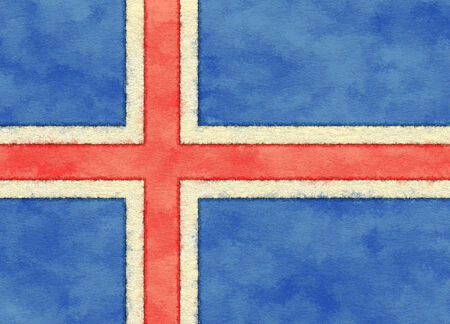 Iceland flag on ageing paper