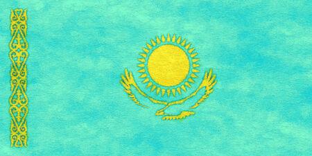 Kazakhstan flag on ageing paper