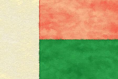 Madagascar flag on ageing paper