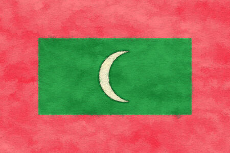 Maldives flag on ageing paper Banco de Imagens