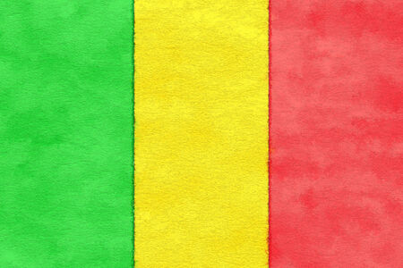 ageing: Mali flag on ageing paper