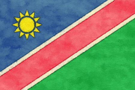 ageing: Namibia flag on ageing paper