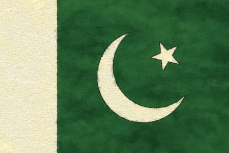 Pakistan flag on ageing paper Imagens