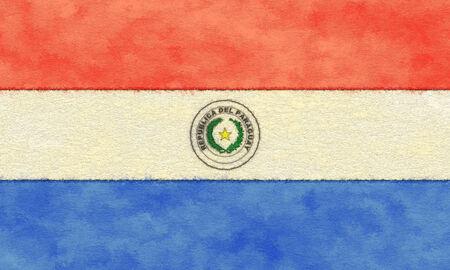 Paraguay flag: Bandera de Paraguay en el papel de envejecimiento Foto de archivo