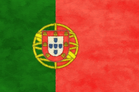 ageing: Portugal flag on ageing paper Stock Photo