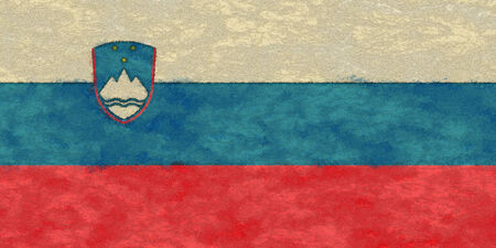 Slovenia flag on ageing paper Imagens